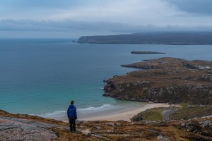 Ceannabeinne beach (Traigh Allt Chailgeag) from the slopes of Beinn Ceannabeinne with Whiten Head (An Ceann Geal) beyond