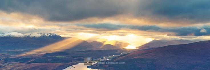 Crepuscular Rays Across Lochaber, Lochaber