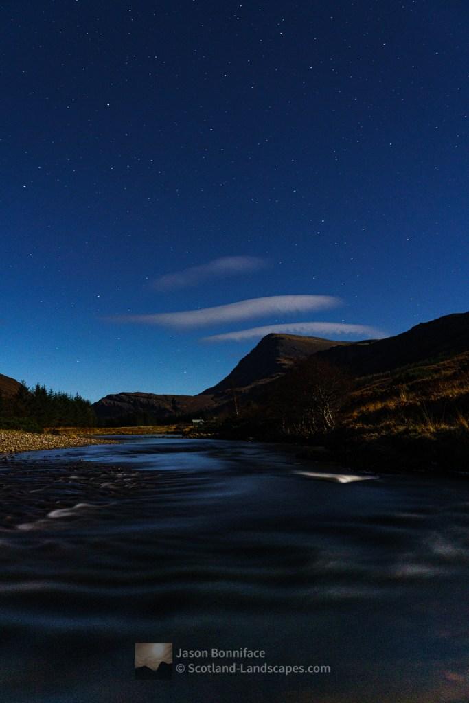 Stars over Ben Hope and Alltnacaillich from Dun Dornaigil Broch, Northern Sutherland
