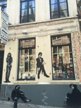 Loved the art on the outside of this music store.