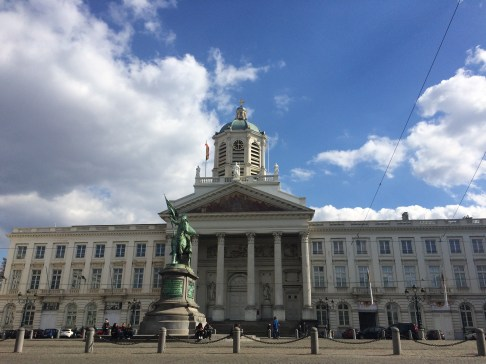 The Royal Square in Brussels and the Statue of Godfried of Bouillon