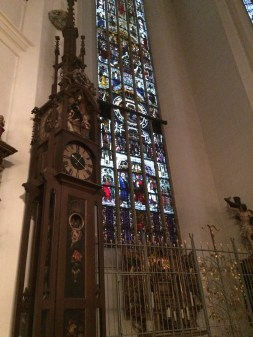 a beautiful german clock and stained glass