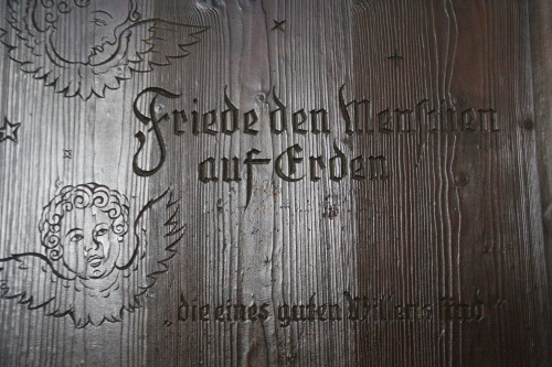 This was etched into the large wooden door.