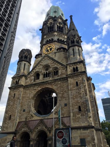 "Kaiser Wilhelm ""Memorial Church"", was damaged in a bombing raid in 1943."