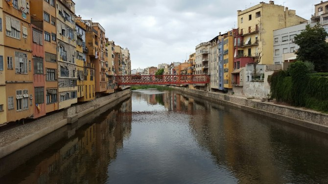 Colourful riverside houses in Girona