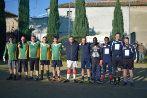 The Irish and Scots teams before the final at the Ragheed Ganni 5-a-side tournament, Saturday 12th November.