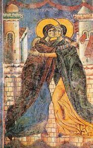 Eastern Christianity fresco of the Visitation in St. George Church in Kurbinovo, Macedonia