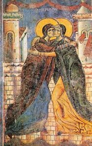 Eastern Christianity fresco of the Visitation in St. George Church in Kurbinovo, Macedonia