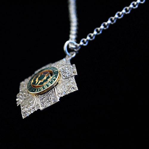 Silver, Enamel & Cz set Scots Guard Pendant