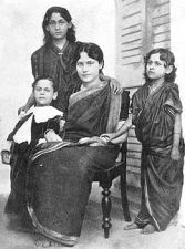 Rabindranath Tagore's son Rathindranath and daughters Madhurilata Devi (Bela), Mira Devi and Renuka Devi. Image credit: Ministry of Culture, Government of India.