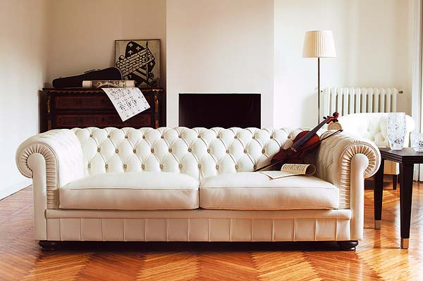 Tufted elegant white sofa
