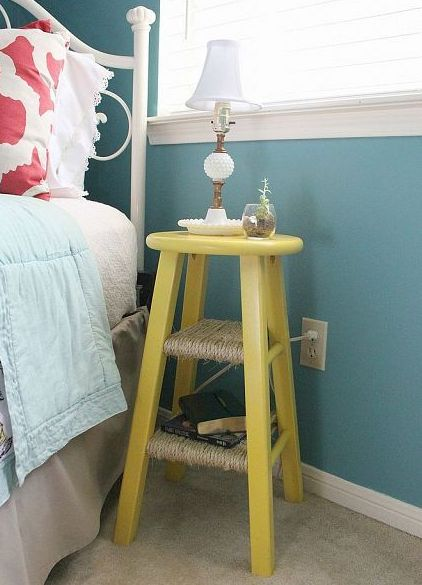 Repainted old stool used as bedside table
