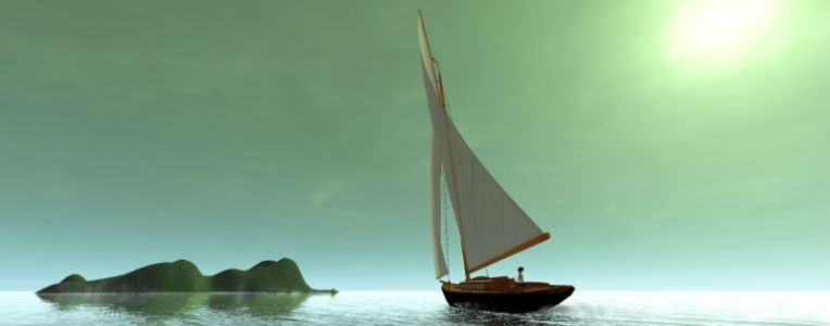 Image of a virtual sailboat with islands at sunset