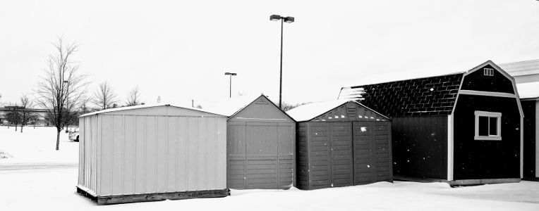 Yard barns in the snow