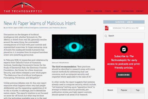 New AI Paper Warns of Malicious Intent