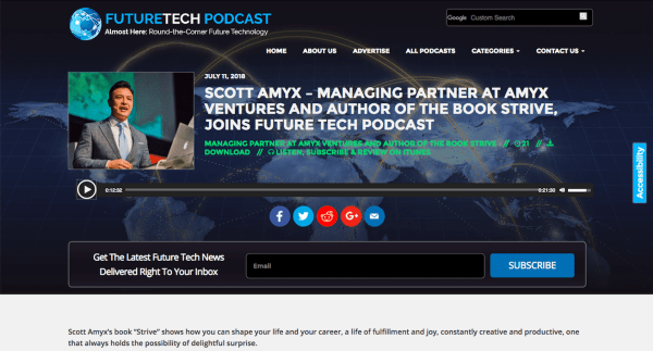 Scott Amyx Interviewed on Future Tech Podcast on Strive Book