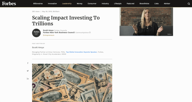 Forbes: Scaling Impact Investing To Trillions - Scott Amyx