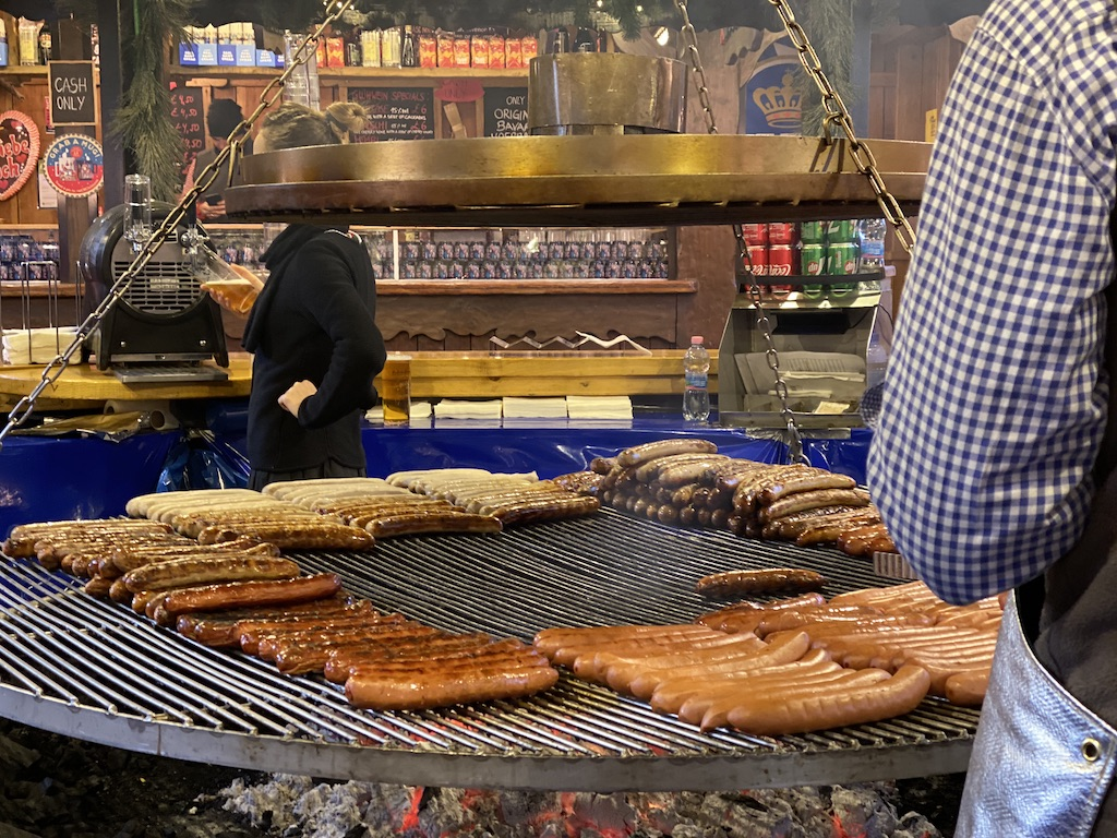 German Sausage Vendor in the Christmas Markets Manchester England