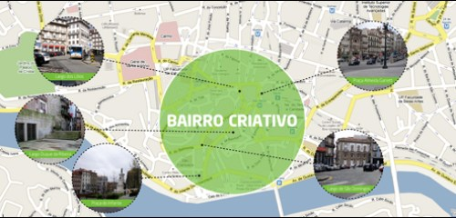 Map of Bairro Criativo projects throughout downtown Porto.