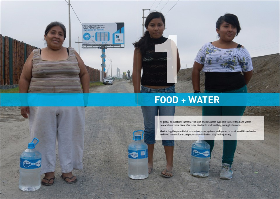 A spread from the Reprogramming the City book featuring UTEC's Water Billboard, Lima, Peru.