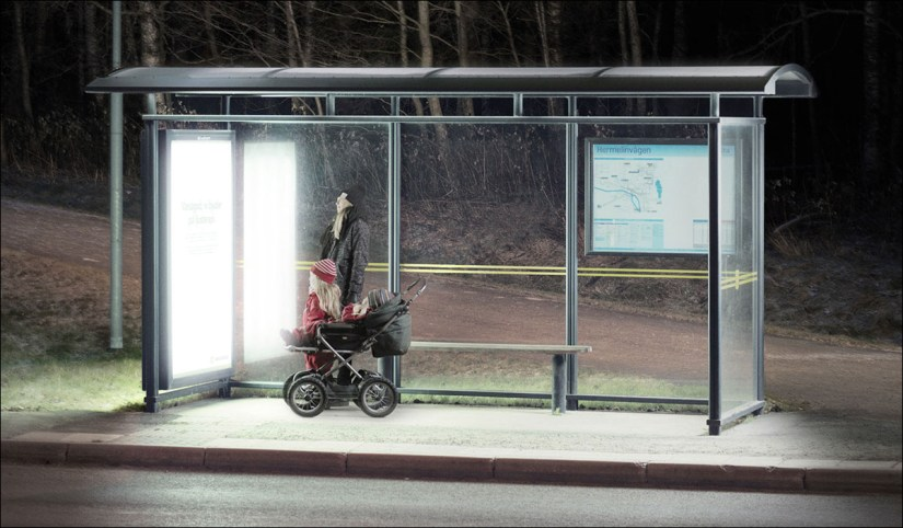 Converted bus stop to boost mental health during the winter with light therapy lamps, Umeå, Sweden.