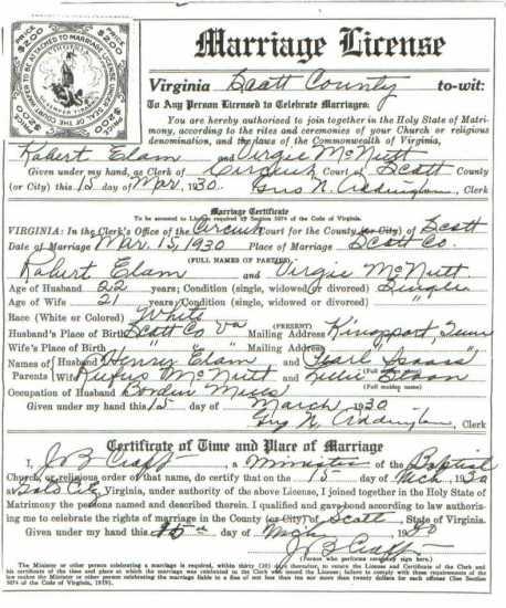 Robert ELAM & Virgie McNUTT, 1930 – Marriage