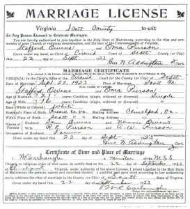 Stafford OWENS & Oma PIERSON, 1923 – Marriage