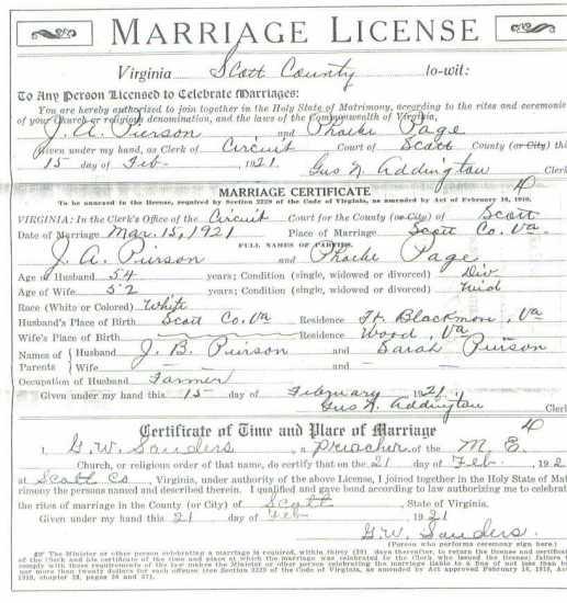 J. A. PIERSON & Phoebe PAGE, 1921 – Marriage