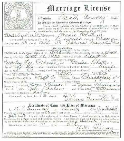Worley Lee PIERSON & Bessie RHOTON, 1933 – Marriage