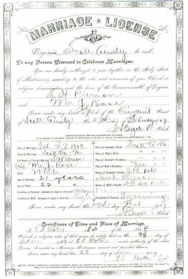 S. H. PIERSON & M. J. ROSE, 1909 – Marriage