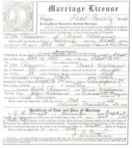 T. M. PIERSON & Pearl WILLIAMS, 1935 – Marriage