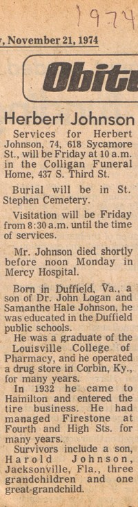 Herbert Johnson Obit