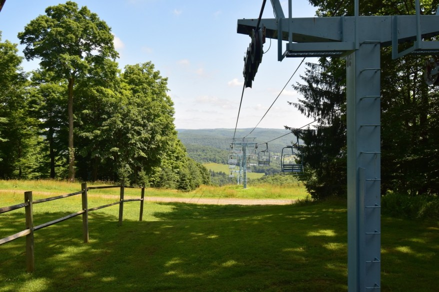 Looking down the ski lift from the top at Holimont Ski Area - FLT M3