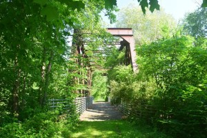 Old railroad bridge over a stream on the Pat McGee Rail Trail, looking north