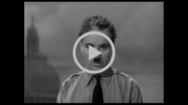 Video of Charlie Chaplin's famous Great Dictator speech