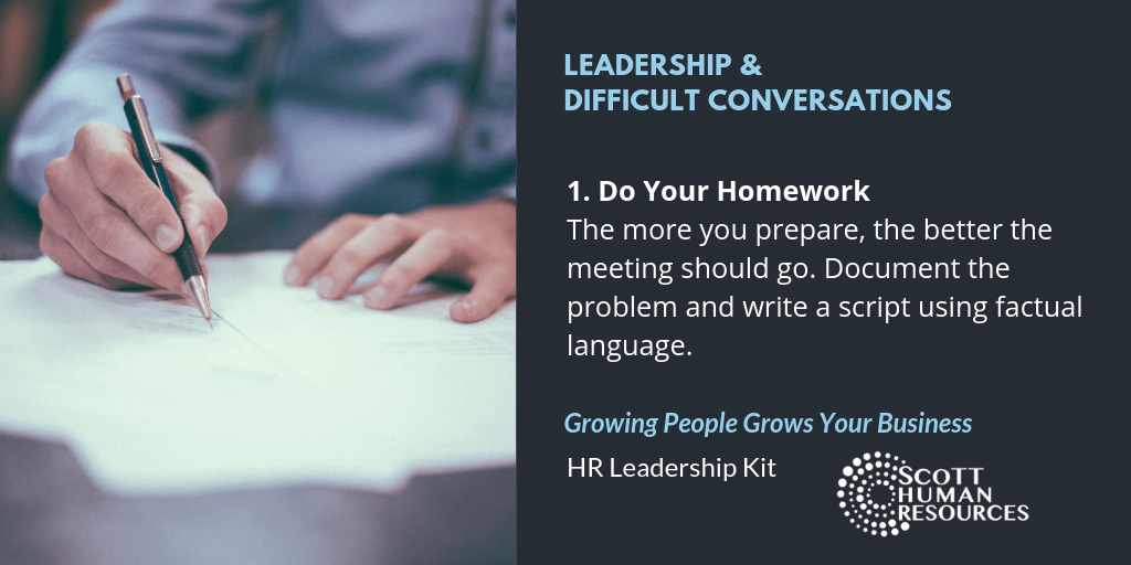 Leadership & Difficult Conversations | Scott HR Step 1 Do Your Homework