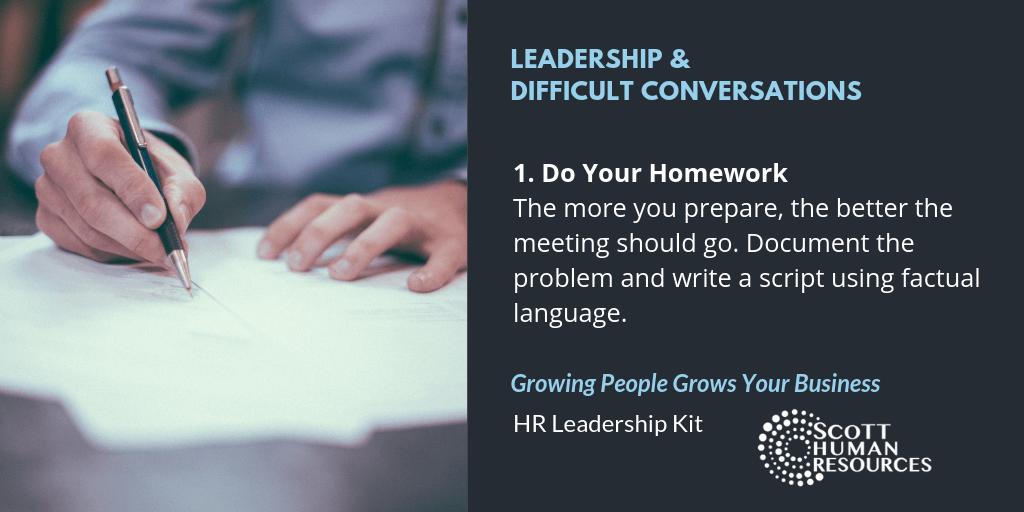 Leadership & Difficult Conversations   Scott HR Step 1 Do Your Homework
