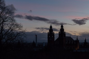 Kelvingrove on a stunning and cold early evening.