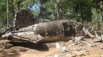 A memorial to a DC3 Aircraft that crashed in Cape York in 1945
