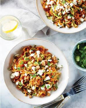 Roasted Spiralised Carrot & Feta Salad