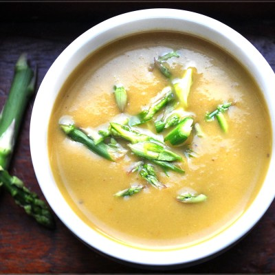 Soup Maker Recipe:  Asparagus Tips with Aubergine