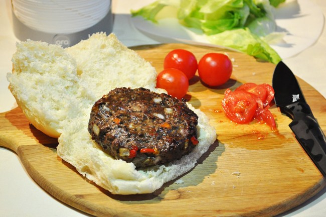 Burger With Red and Orange Peppers
