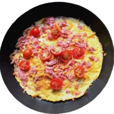 Egg Pizza with Ham & Tomatoes (Low Carb)