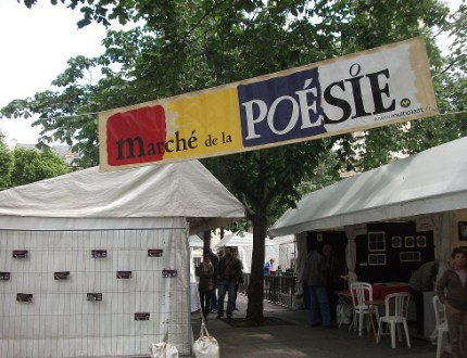 Banner at poetry event, June 2012