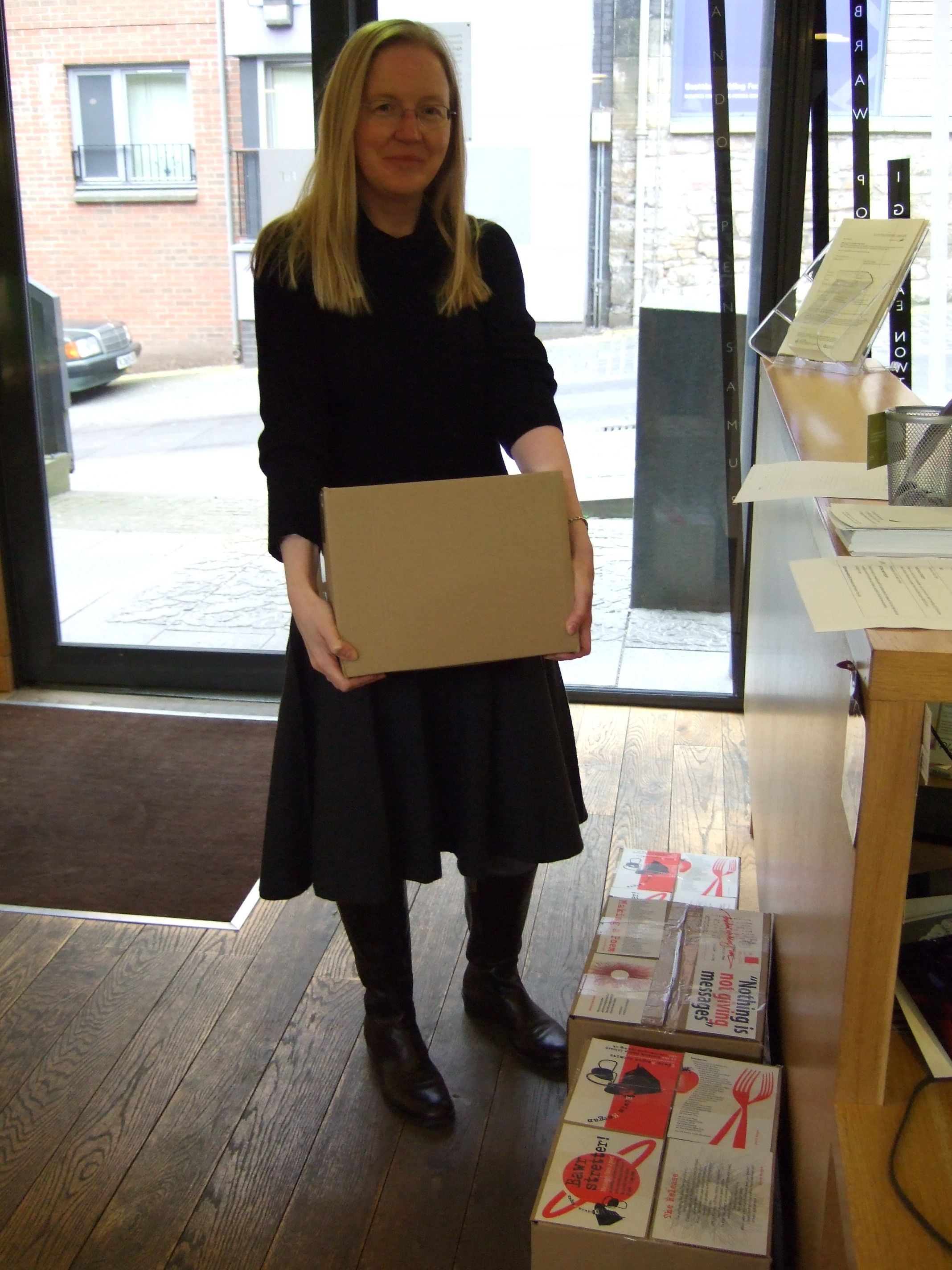 Julie receives another Edwin Morgan delivery: bookmarks!