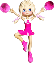 animated cheerleader with pompoms