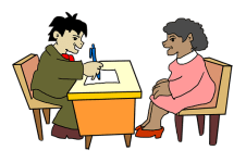 interview at desk anim