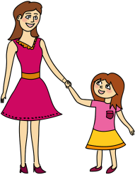 mom and daughter animated