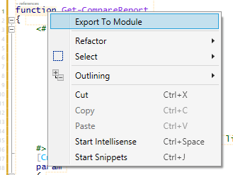 Export To Module context menu