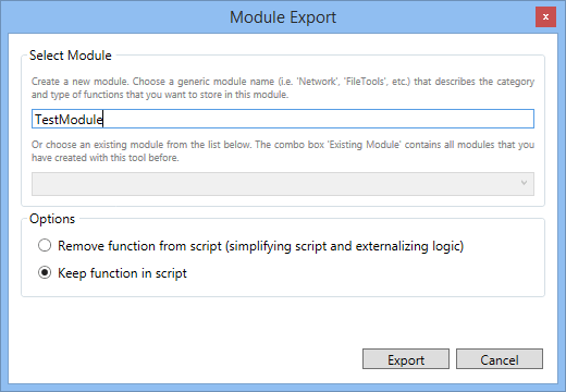 Export the function to a new module.